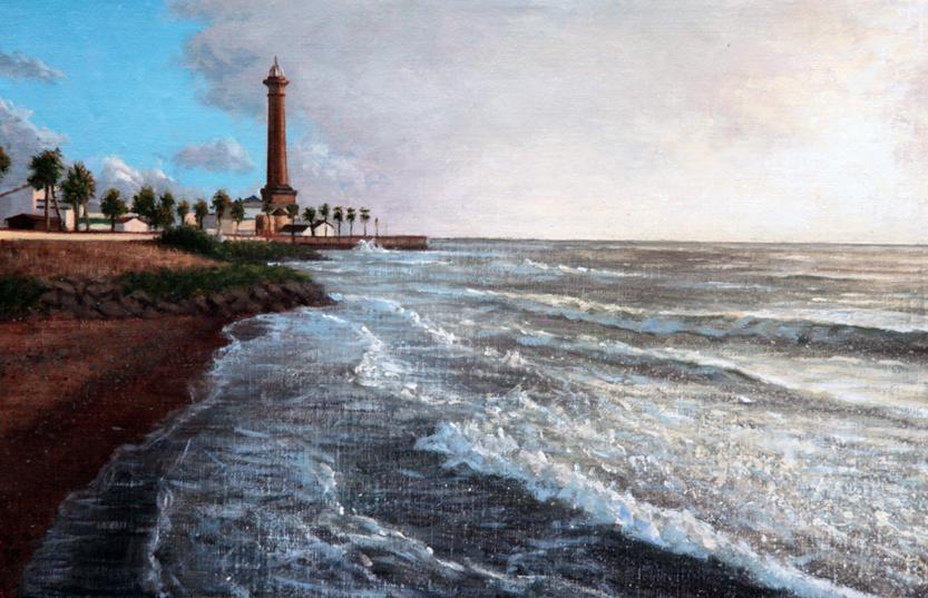 chipiona夕陽の灯台